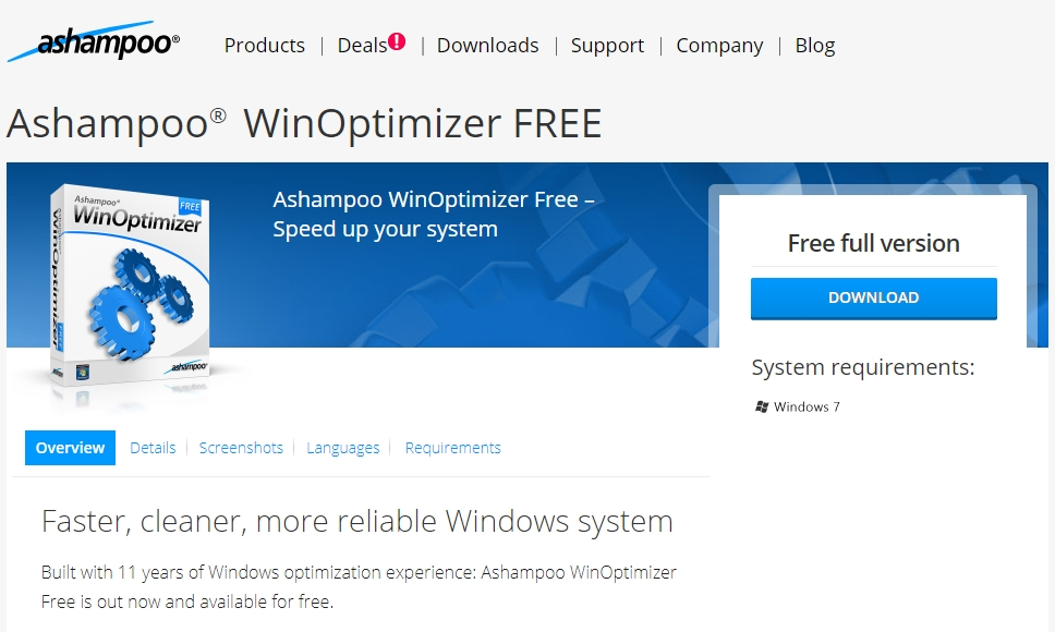 Ashampoo WinOptimizer Free best free pc optimizer